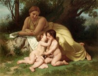 Bouguereau - Young Woman Contemplating Two Embracing Children (1861)